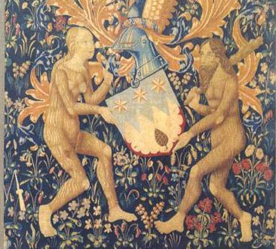Couple sauvage, tenants de blason